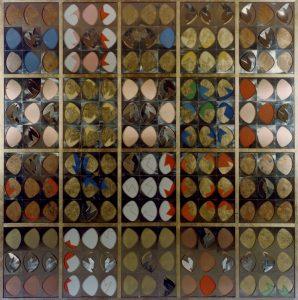 IL POLITTICO, 1967. Acciaio inox, colore a olio, oro,rame e ottone, cm 228x231