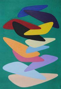 FUNZIONE DI FORMA CONCRETA, 1955. Olio su tela, cm 97x68