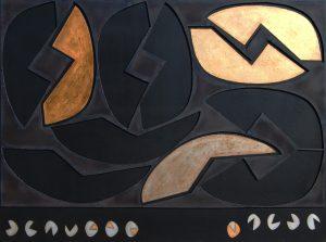SPERIMENTALE CONCRETO, 1963. Ferro, ottone, oro e argento su carta bituminosa, cm 163x121,5