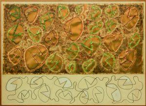 SPAZIO, 1964. Ottone, incisione ossidrica, pennarello su carta pergamena, cm 128,3x137