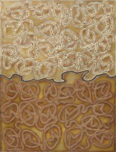 SUPERFICIE, 1966. Ottone, intaglio ossidrico, cm 89,5x67