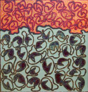 SUPERFICIE, 1966. Rame e acciaio inox, incisione ossidrica, cm 92x96