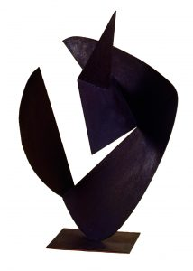 FUNZIONE-SVILUPPO DI FORMA CONCRETA, 1955. Ferro ossidato, cm 53x49x57