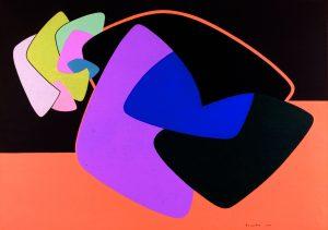 FUNZIONE DI FORMA CONCRETA, 1955. Olio su tela, cm 70,4x99,6