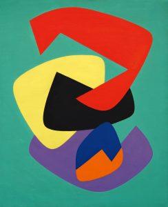FUNZIONE DI FORMA CONCRETA, 1955. Olio su tela, cm 79,5x64,7