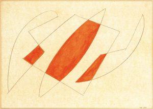 CONCRETO, 1953. Matita e rosso su carta, cm 33,8x24,1