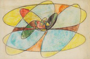 STUDIO, 1953. Matita e pastello su carta, cm 51x77