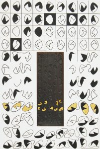 NOMOGRAFIA, 1976. Stampa su tela, formella in metallo, oro e argento, cm 83x56
