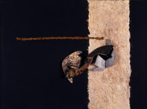 COMPOSIZIONE, 1961. Polimaterico, cm 43x57