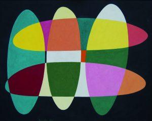 STRUTTURA ELLITTICO SPAZIALE, 1953. Olio su masonite, cm 57,5x72,8