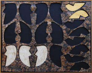 SUPERFICIE-MATRICE, 1962. Ferro, ottone, oro e argento su carta bituminosa, cm 74x93