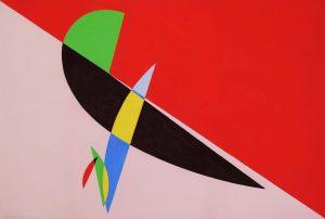 COMPOSIZIONE CON ROSSO, 1953. Tempera su carta, cm 36,3x54