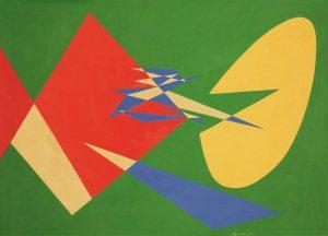 COMPOSIZIONE CONCRETA, 1954. Olio su faesite, cm 53,4x75