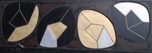SPERIMENTALE CONCRETO, 1963. Ferro, ottone, oro e argento su carta bituminosa, cm 83x238