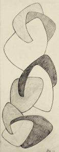 CONCRETO, 1954. Matita su carta, cm 65,4x25,2